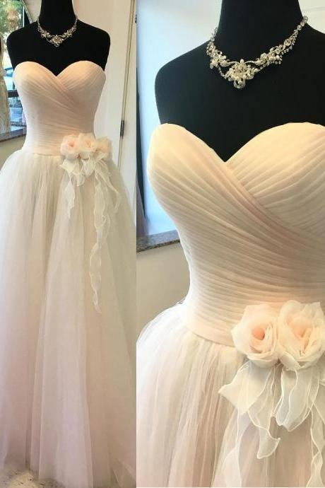 A- line Princess Sweetheart Neck Strapless Bridal Dresses,Long Tulle Floor Length Simple Wedding Dress,Long Tulle Wedding Gown