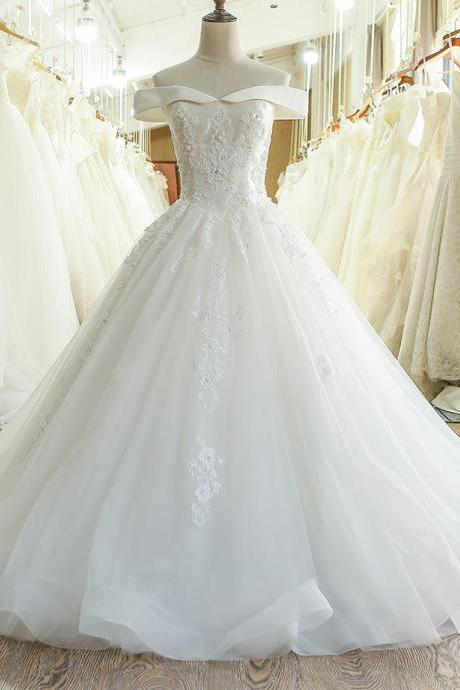 Off-the-Shoulder Lace Appliqués Princess Ball Gown, Wedding Dress Featuring Lace-Up Back
