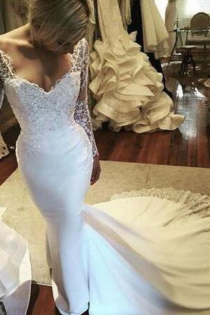 W1001 Amazing V Neck Illusion Long Sleeve Wedding Dresses 2018 Lace Crystals Beaded Mermaid Bridal Gowns Sweep Train Wedding Gowns