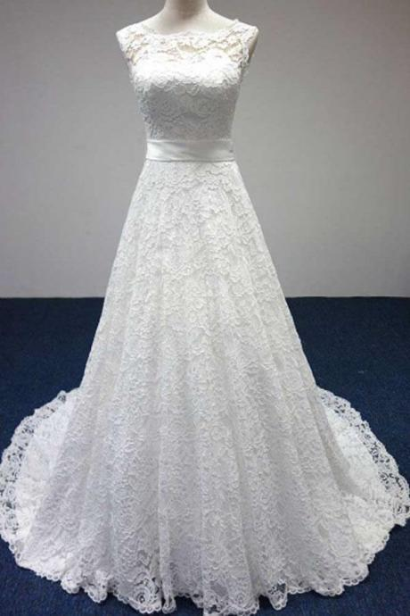 W1006 Bateau A-Line Lace Scoop White Cap Sleeve Sash Bowknot Sleeveless Wedding Dress,Open Back Lace-up Wedding Gowns,Wedding Dresses,A Line Lace Wedding Dress