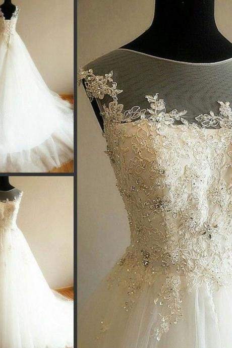 W1022 Charming Illusion Long A-line Lace Up Tulle Rhinestone Wedding Dresses,A Line Top Lace Tulle Wedding Dress,Simple Elegant Lace Wedding Dress