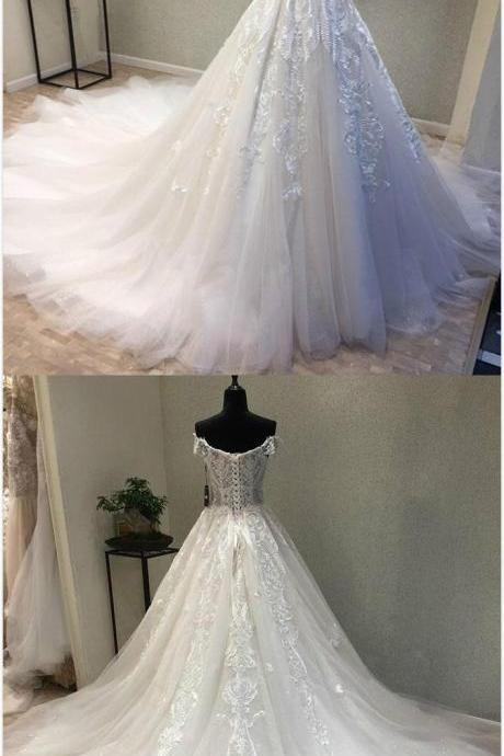 W1037 Elegant Off Shoulder Lace Wedding Dress,Tulle Bridal Gowns, Long White Wedding Dress,Off the Shoulder Ball Gown Tulle Lace Wedding Dress,Ball Gown Tulle Lace Bridal Dress