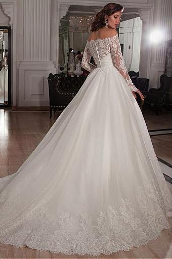 W1042 Elegant Tulle Off-the-Shoulder Neckline Ball Gown Wedding Dresses with Lace Appliques,Off the Shoulder Long Sleeves Lace Ball Gown Wedding Dress,Ball Gown Lace Bridal Dress with Long Sleeves