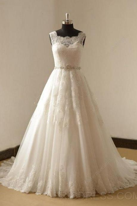 W1042 Fashion Sheer Neckline Wedding Dresses,Real Photo Tulle Applique Court Train Pleated Rhinestones Beaded Wedding Dress,A Line Long Lace Elegant Wedding Dress,Simple Elegant Lace Bridal Dress