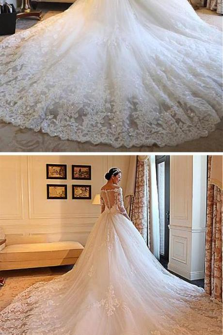 W1048 Gorgeous Tulle Off-the-shoulder Neckline Ball Gown Wedding Dresses With Beaded Lace Appliques,V Neck Long Train Lace Wedding Dress,Half Sleeves Lace A Line Luxury Wedding Dress