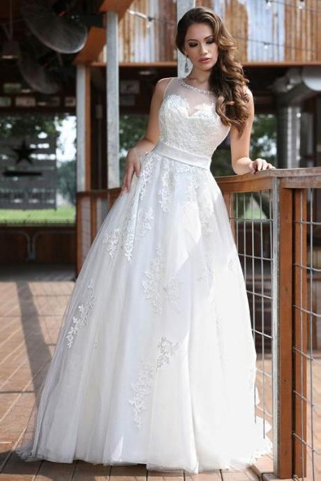 W1052 Hot Sale Graceful Tulle Scoop Neck Tank Appliques Ball Gown Wedding Dresses,Custom Made White Or Ivory Bridal Gowns Online,A Line Long Tulle Lace Wedding Dress
