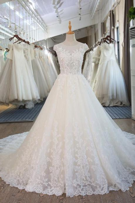 W1101 Princess Beach Corset Lace Wedding Gown Train Dress,Cap Sleeves Ball Gown Lace Wedding Dress,Long Lace Ball Gown Bridal Dress