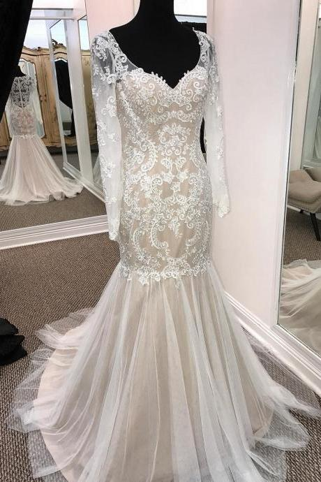 W1121 Sheath V-neck Long Sleeve Wedding Dresses Summer Appliqued Dresses,Sheer Lace Back Long Mermaid Tulle Wedding Dress,Lace Mermaid Wedding Dress with Long Sleeves