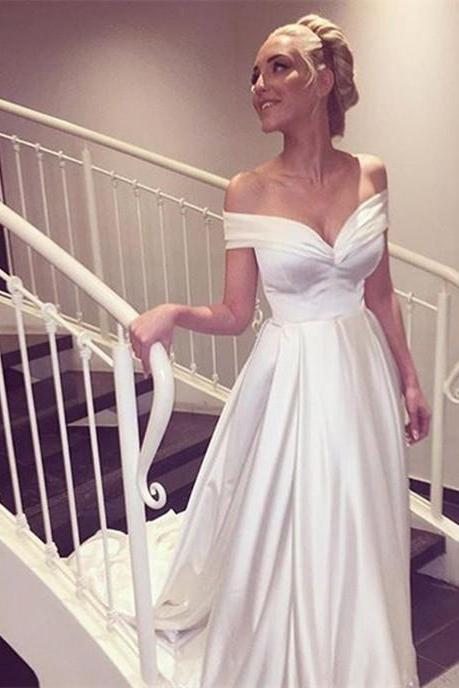 W1132 Simple White Pleated Off Shoulder Satin Wedding Formal Dress,Off the Shoulder A Line Long Satin Wedding Dress,Simple Elegant Long Satin Bridal Dress