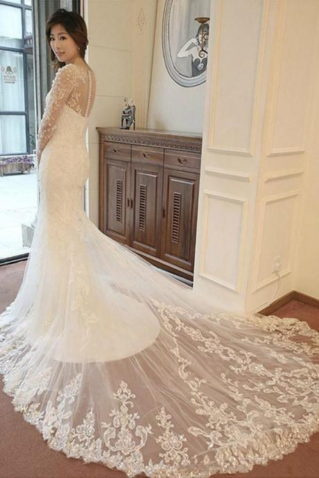 W1158 Wedding Dress, Long Sleeve Mermaid Wedding Dresses, Elegant Bridal Dress