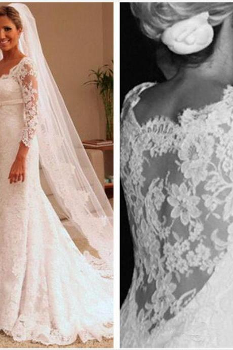 W1180 Weddings Long Sleeve Sheer Lace Mermaid Wedding Dress 2016 Sweetheart Applique Sweep Train Bridal Gowns