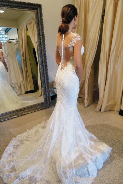 W1191 White wedding dresses lace wedding gowns mermaid Perspective halter wedding dress sequin bridal gowns short sleeve wedding gowns,cap sleeves lace mermaid wedding dress