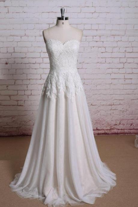 W1202 Champagne Lace Wedding dress, Bridal gown, Wedding gown, A-line wedding dress