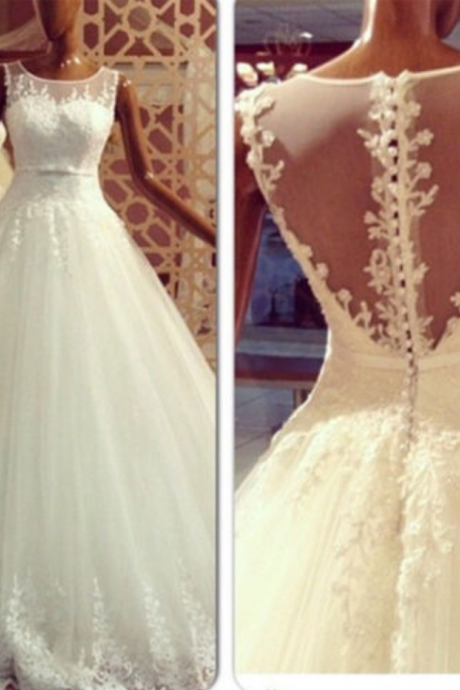 W1203 A Line Top Lace Wedding Dress,Sheer Lace Back Floor Length A Line Long Tulle Lace Bridal Dress