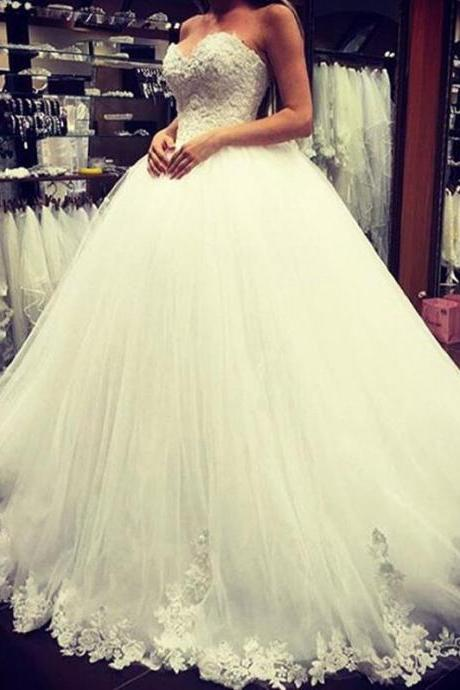 W1210 Sweetheart Lace Wedding Dress,Tulle Wedding Dress,Cheap Wedding Dress,Ball Gowns Wedding Dress,Princess Bridal Dress, Wedding Gowns