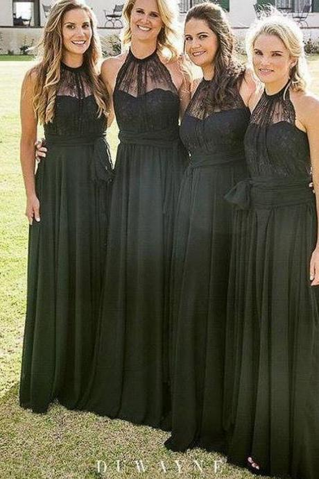 B1006 Black Chiffon Lace Halter Bridesmaid Dresses,Long Bridesmaid Dresses,Halter Neck A Line Long Black Lace Chiffon Bridesmaid Dress,Black Lace Bridesmaid Dress,