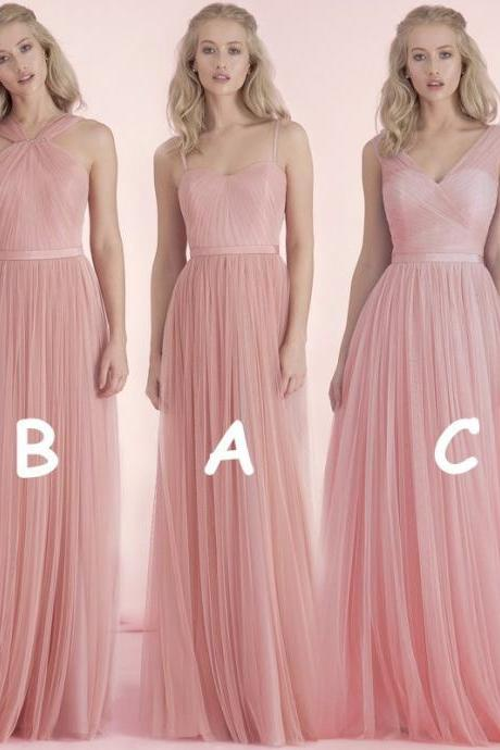 B1014 Cheap Bridesmaid Dresses, Bridesmaid Dresses, Tulle Long Nude Pink Blush Bridesmaid Dresses, Wedding Party Dress, Maid of Honor Dress
