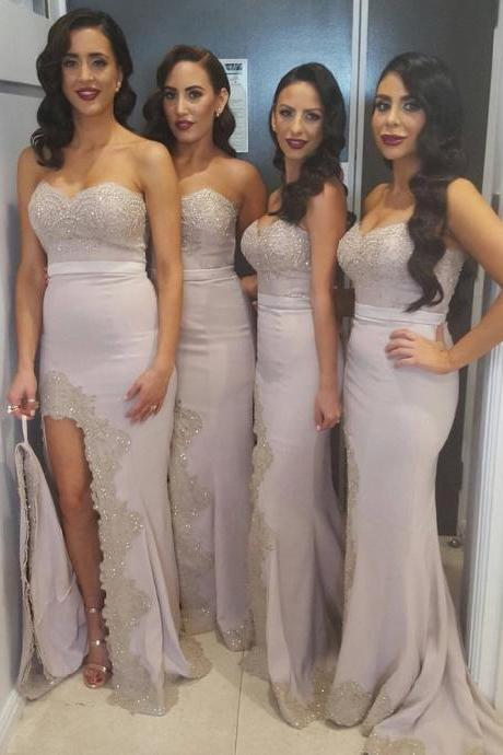 B1016 elegant bridesmaid dresses,lace appliques mermaid dress,long mermaid evening gowns,sexy slit prom dress,sheath lace bridesmaid dress with side split,sexy lace evening dress with side split