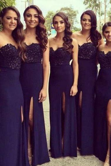 B1017 Elegant Navy Blue Bridesmaid Dresses, Long Floor Length Bridesmaid Dresses, Lace Mermaid Beach Party Dress, Side Split Evening Dresses, Bridesmaid Dresses