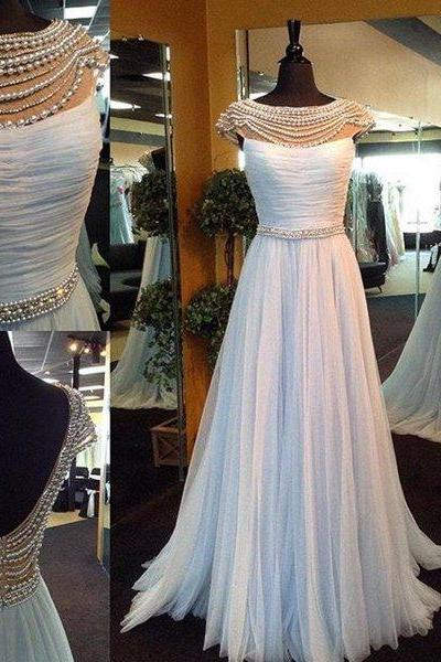 P1016 Elegant Long Beads Cap Sleeves Light Blue Prom Dress with Open Back,Cap Sleeves A Line Long Tulle Baby Blue Beading Prom Dress,Long Tulle Beading Elegant Evening Dress