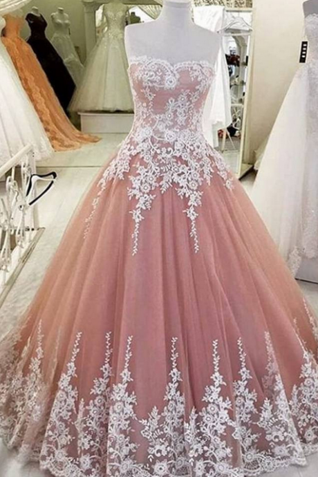 F576 Strapless Prom Dresses,Long Prom Dresses,Lace Up Prom Dresses,Pink Prom Dress,A-line Prom Gowns,Evening Dresses,Quinceanera Dresses,Prom Dress,Real Photo Dress,Evening Dress