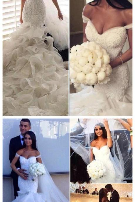 W1234 Newest Mermaid Elegant Sweetheart Crystal Ruffles Wedding Dress,Off the Shoulder Lace Mermaid Bridal Dress,Luxury Lace Mermaid Organza Wedding Dress