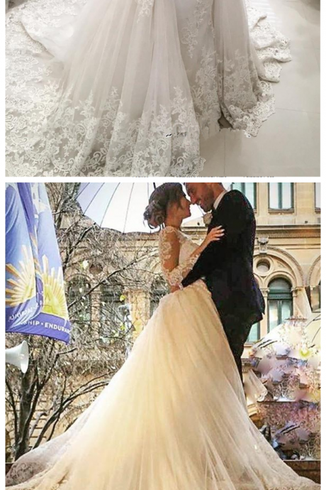 W1244 Tulle Long-Sleeves bridal dresses wedding gowns V-Neck Elegant Appliques Detachable-Skirt Wedding Dress,Deep V Neck Lace Wedding Dress with Detachable Train