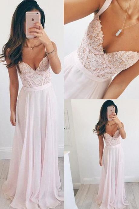 F638 Top Selling Elegant Long Chiffon Pink Prom Dresses For Teens,Lace A-line Prom Dress,Prom Dresses,Girly Party Dresses,Bridesmaid Dresses,Prom Dress,Evening Dress