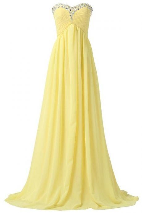 F639 Bridesmaid Dresses,Sweetheart Long Yellow Chiffon Beaded Prom Dresses,Pregnant Dresses,High Low Prom Dress For Teens,Simple Cheap Party Dresses,Evening Dresses,Prom Dress,Evening Dress,Real Photo Dress