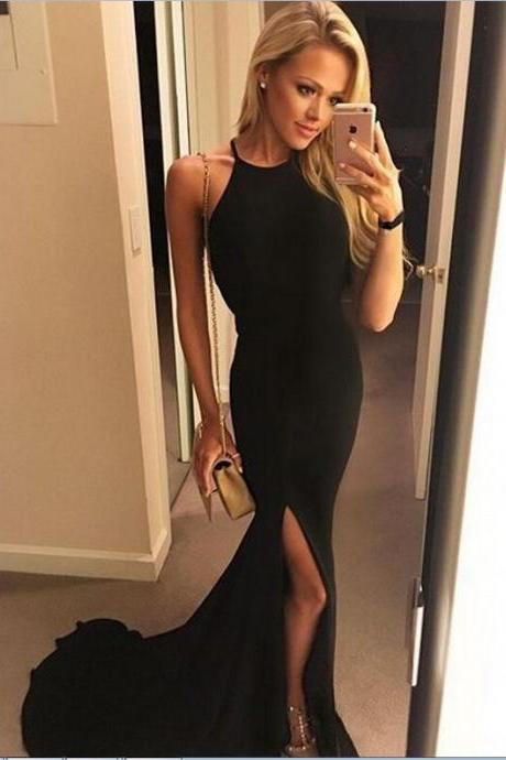 F641 Charming Sexy Long Black Mermaid Simple Prom Dresses For Teens,Cheap Open Back Modest Prom Gowns,Fashion Dresses,Pretty Evening Dresses,Prom Dress,Evening Dress