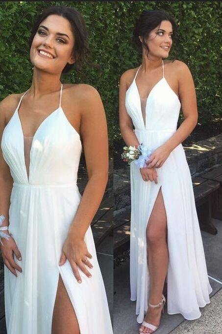 F643 Fashion Long V-neck Halter White Chiffon Prom Dresses,Simple Plus Size Prom Dress For Teens,Cheap Prom Gowns,Charming Evening Dresses,Prom Dress,Evening Dress,Chiffon Bridesmaid Dress