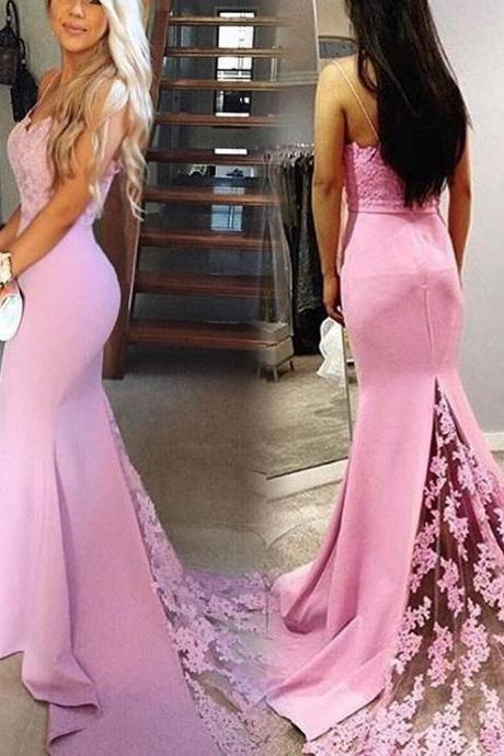 F645 Pink Long Mermaid Lace Backless Modest Prom Dresses,Spaghetti Straps Evening Dresses,Charming Women Dresses,Elegant Party Dresses,Bridesmaid Dress,Evening Dress,Prom Dress