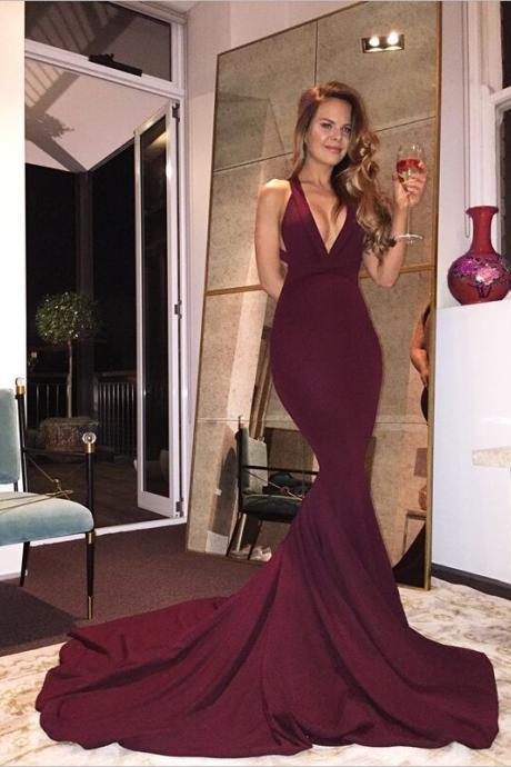 F646 Real Sexy Long Mermaid Prom Dresses,Plum Prom Dress For Teens,Handmade Evening Dresses,Simple Cheap Backless Prom Dresses,Party Dresses,Prom Gowns