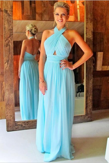 F649 Light Blue Chiffon Prom Dresses For Teens,Backless Elegant Long Prom Dresses,Simple Plus Size Prom Gowns,Cheap Party Dresses,Evening Dresses,Party Dresses,Prom Dress,Evening Dress,Bridesmaid Dress