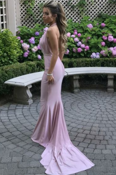 P1086 halter long prom dresses, backless court train party dresses, pink mermaid semi formal dresses,sexy halter neck backless prom dress,long sexy backless evening dress