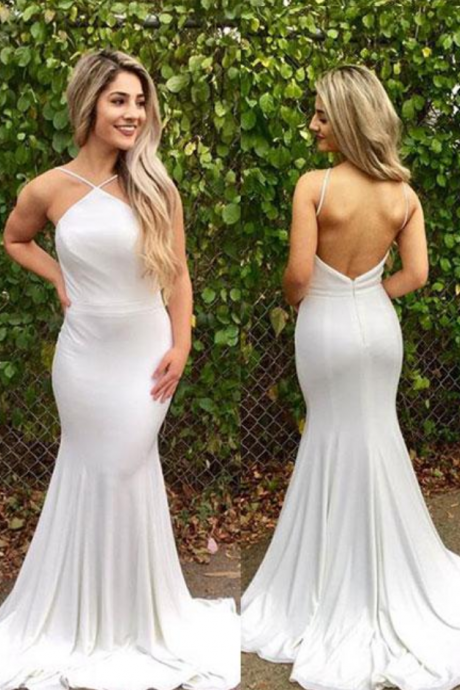 P1166 Simple Prom Dresses,New Prom Gown,Vintage Prom Gowns,White mermaid backless long prom dress, white evening dress,backless sexy white mermaid evening dress,spaghetti straps long white sexy prom dress