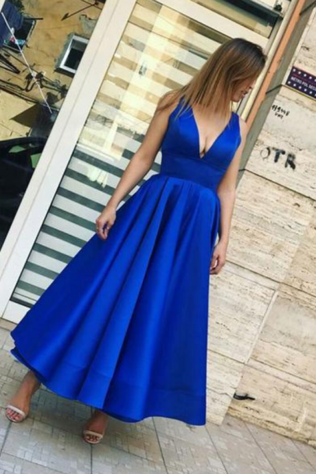 P1168 Simple royal blue v neck prom dress,tea length evening dress,deep v neck long stain royal blue cheap prom dress,a line royal blue satin evening dress