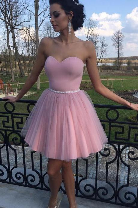 F685 Cute Tulle Homecoming Dresses, Dusty Pink Homecoming Dress, Short Prom Dresses, Short Homecoming Dresses, Prom Party Dress,Homecoming Dress,Cocktail Dress,Short Bridesmaid Dress