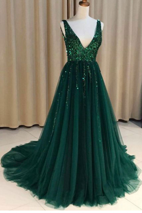 P1171 Special V Neck V Back Tulle Green Long Prom Dresses with Sequined for Women,A Line Long Tulle Sequin Elegant Prom Dress,Long Tulle Elegant Green Sequin Beading Tulle Evening Dress