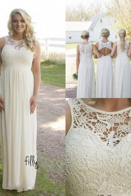 F687 Country Style Bridesmaid Dresses, Cheap Bridesmaid Dresses. Spring Summer Plus Size Bridesmaid Gown, Lace Top High Waist Maternity Chiffon Long Garden Beach Dresses,Prom Dress,Evening Dress,Bridesmaid Dress