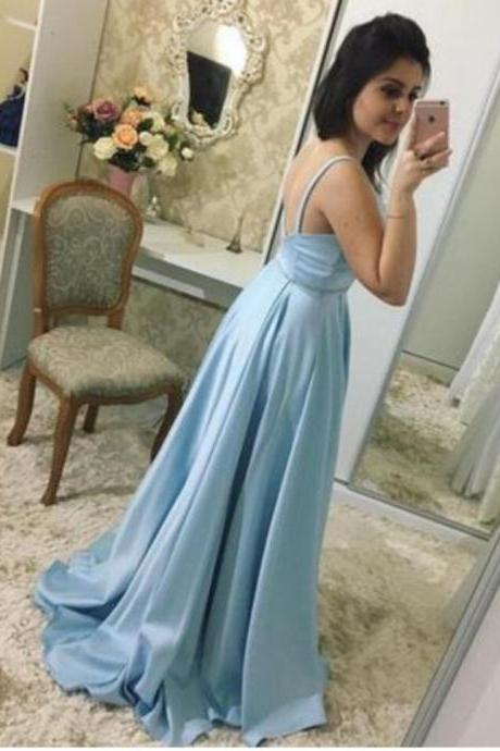 P1172 Split Blue Prom Dress, Sexy Spaghetti Straps Floor Length Long Prom Dresses, 2018 Evening Party Dress,Spaghetti Straps Long Blue Satin Sexy Prom Dress,Sexy Cheap Simple Cheap Elegant Long Blue Evening Dress