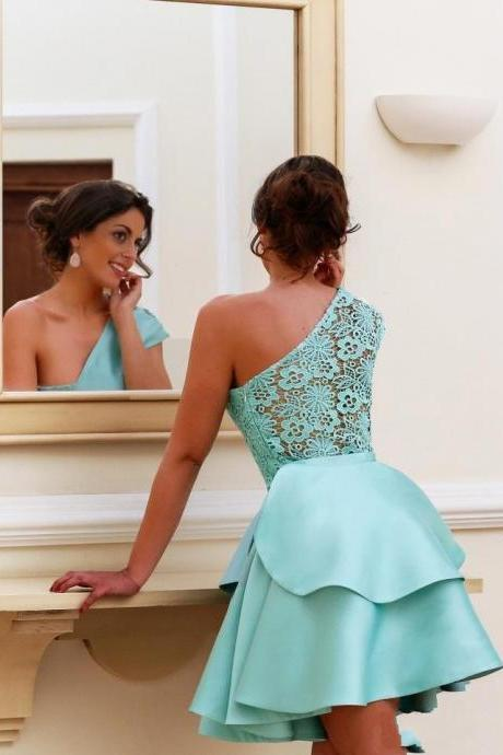 F688 Elegant One Shoulder Homecoming Dresses, Short Homecoming Dresses, Cute Dress for Prom, Lace Layers Short Prom Dresses, Arabic Cocktail Party Wear Gowns,Homecoming Dress,Evening Dress,Short Prom Dress