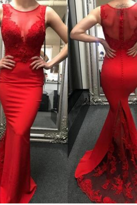 P1174 Stylish Red Lace Sweep Train Prom Dress Sheath Mermaid African Dresses Party Evening Formal Cocktail Gowns with Sheer Crew Neckline