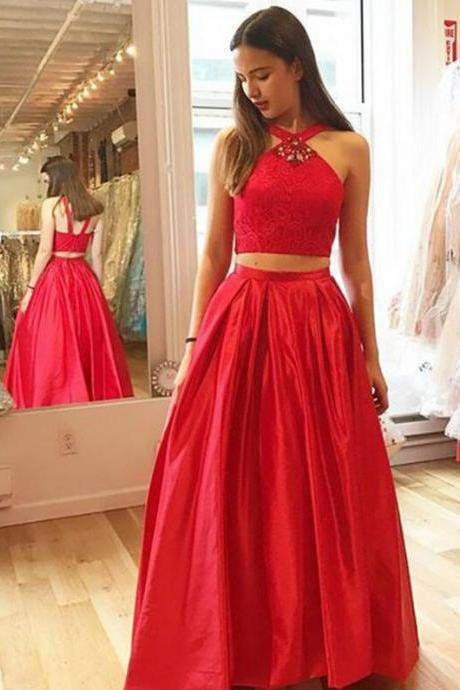 F690 Two-Piece Prom Dress, A-Line Crystal Halter Prom Dress, Two-Piece Homecoming Dresses, Glamorous Red Prom Dresses, Satin Prom Dress,Prom Dress,Evening Dress