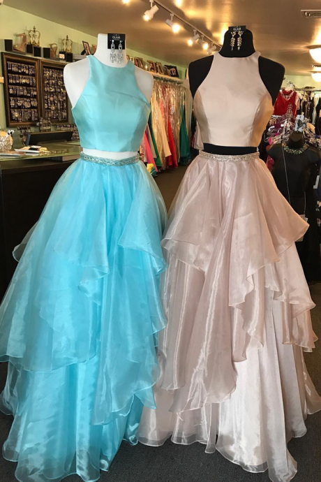 P1176 Two Piece Pink Long Prom Dress, Long Prom Dress with Open Back,Prom Dresses,Evening Dress, Prom Gowns, Formal Women Dress,High Neck Two Piece A Line Long Organza Blue Prom Dress