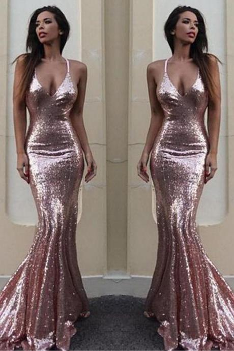 F696 Sequins V-Neck Mermaid Prom Dress, Rose Sequined Prom Dresses, Sexy V neck Evening Dress, Woman Prom Dress, Gorgeous Prom Dress,Prom Dress,Evening Dress,Charming Lady Dress