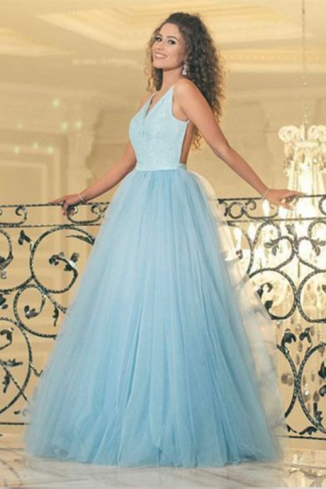 P1184 V-Neck A-Line Backless Prom Dresses,Long Prom Dresses,Cheap Prom Dress,Halter Neck Backless A Line Elegant Long Tulle Blue Prom Dress,Simple Elegant Long Tulle Blue Sexy Evening Dress
