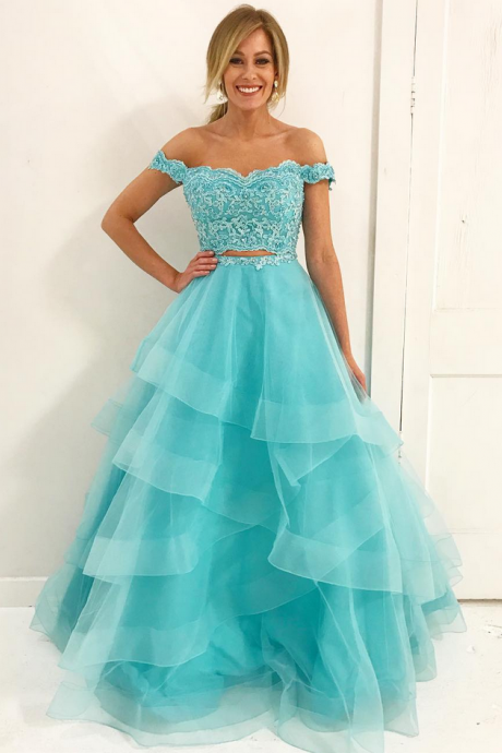 P1185 Off the Shoulder Top Lace Blue Tulle Prom Dress,Two Piece Top Lace A Line Blue Tulle Lace Elegant Prom Gown,Long Tulle Blue Tulle Lace Two Piece Evening Dress