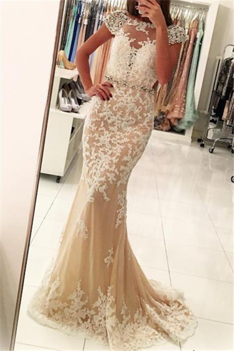F698 Stunning Crystals Beading Prom Dress, 2018 Prom Gowns, Short Sleeve Prom Dress, Lace Mermaid Prom Dress, Charming Prom Dress, Lace Formal Evening Dress,Lace Wedding Dress,Wedding Dress