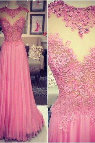 P1189 2017 Custom Made,Illusion Pink Prom Dress,Appliques Beading Evening Dress,Sleeveless Party Dress,Long Chiffon Top Lace A Line Simple Elegant Prom Dress